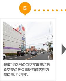 県道153号のコジマ電機がある交差点を久喜駅前商店街方向に曲がります。